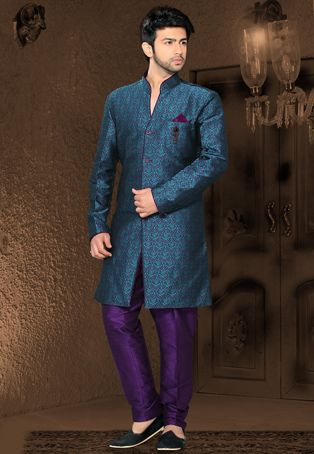 Purple and Teal Blue Art Silk Jacquard Readymade Indo Western Suit; $92.00