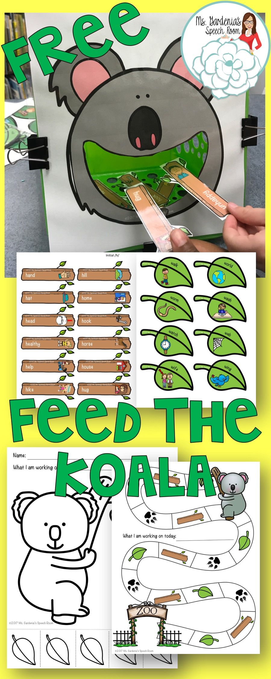 Early Sounds Articulation Feed the Koala | Speech therapy ...