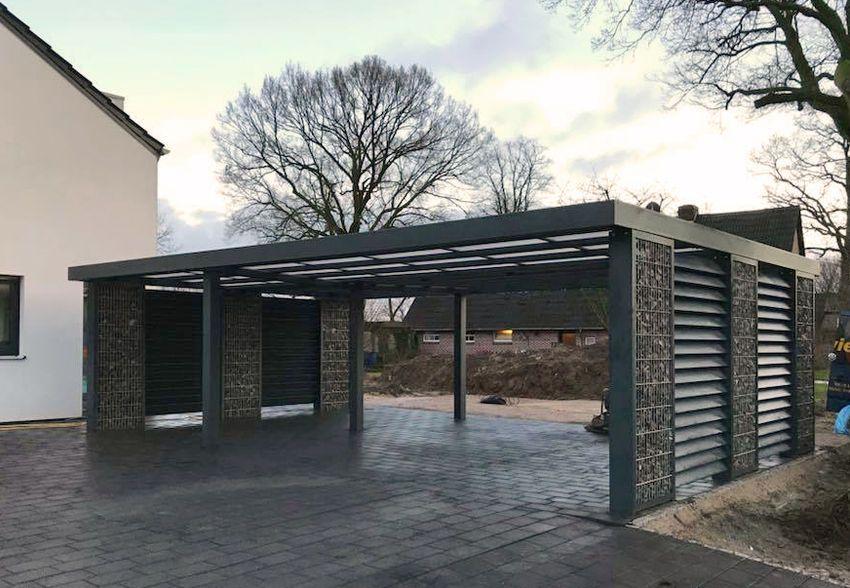 Gabionen Carport gabionen carport steelmanufaktur carport solar