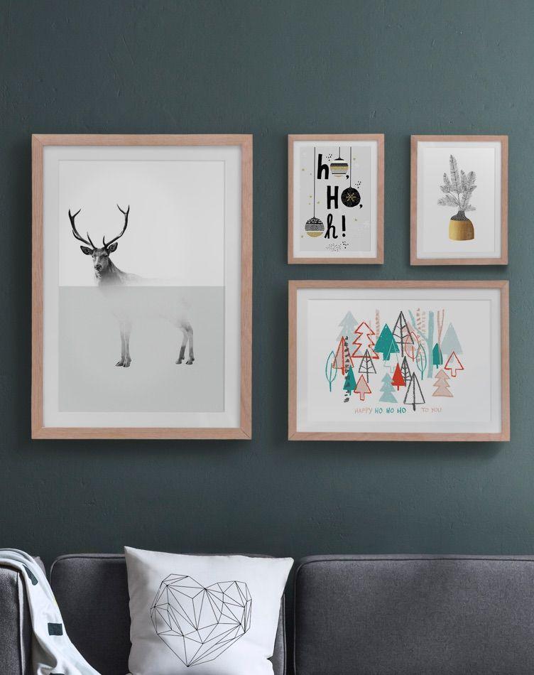Gerahmte Winter-Poster mit Hirsch-, Christbaum- und ...