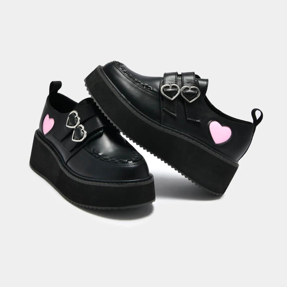 Pothos Pink Heart Wave Platform Shoes