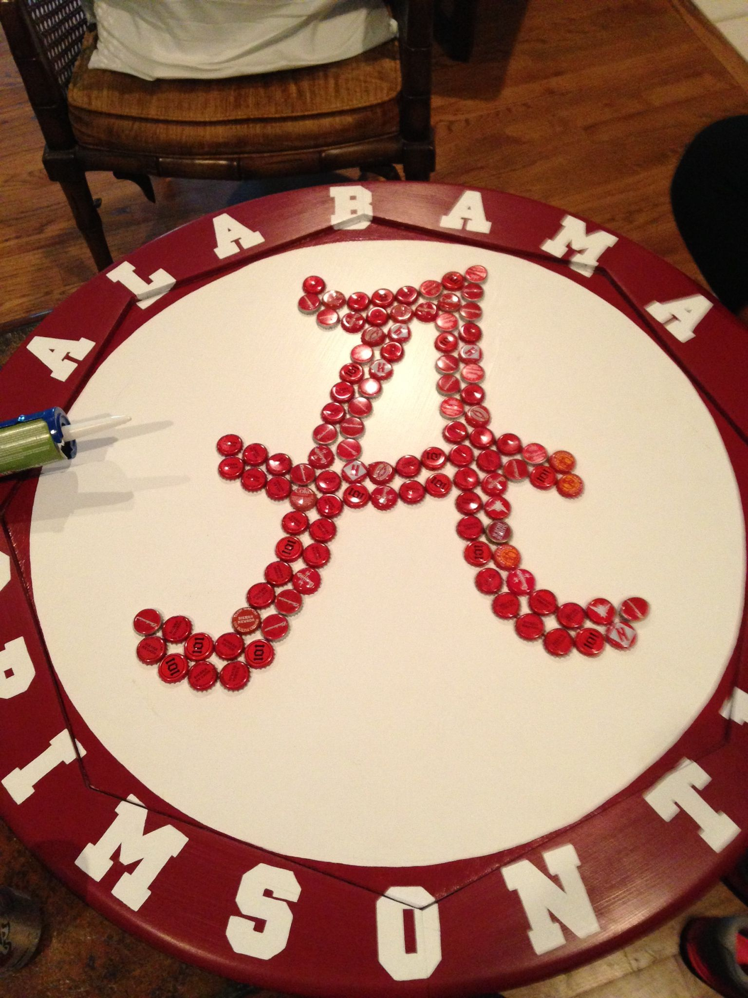 Paint And Beer Bottle Cap University Of Alabama Coffee Table