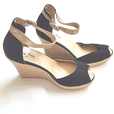 7e666043f0db Toni Pons Black Suede Wedge Sandals Espadrille Shoes Gold Ankle Strap 40 9  9.5