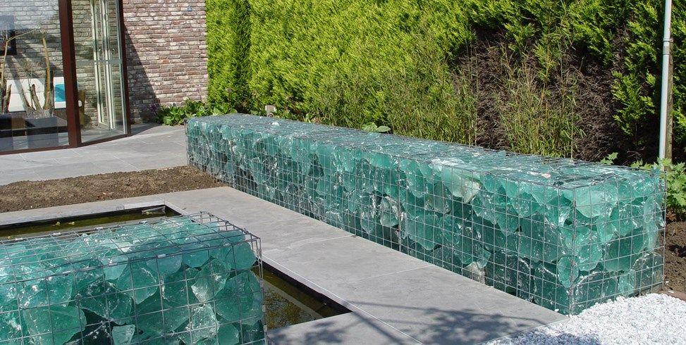 Gabion Wall, Slag Glass Maureen Gilmer Morongo Valley, ...