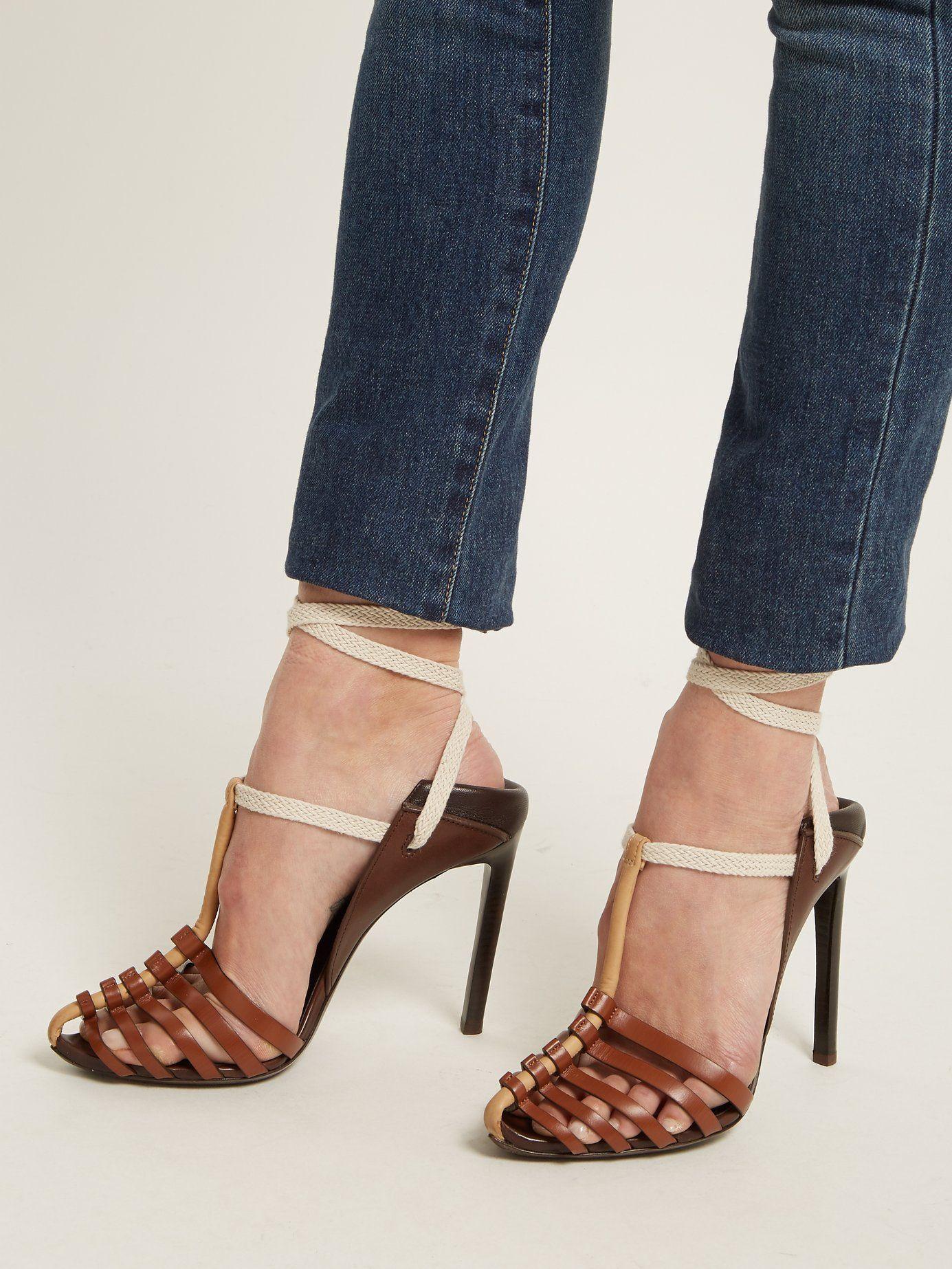 c9835fbb770 Click here to buy Saint Laurent Majorelle   Mansour leather sandals at  MATCHESFASHION.COM