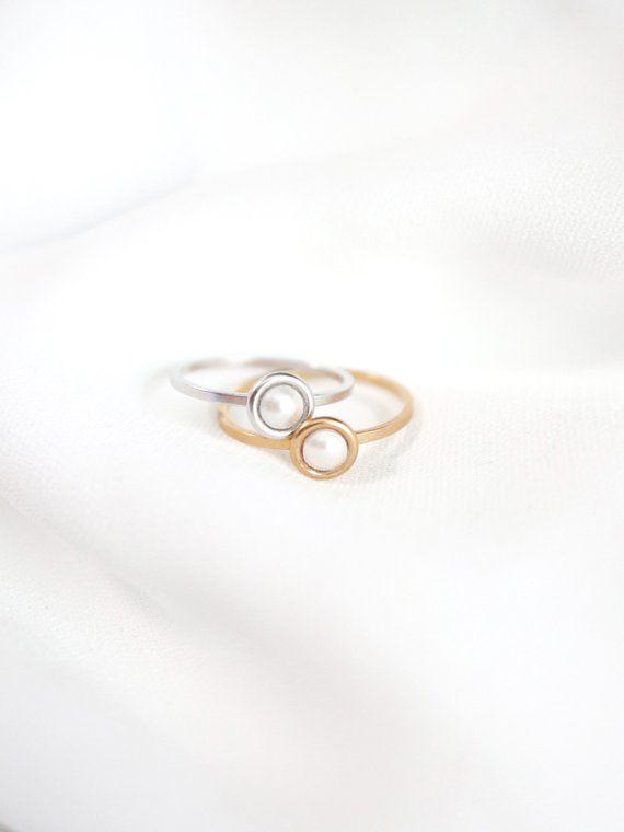 09da201c8 dainty pearl ring // silver or gold . tiny pearl ring . minimal silver  stacking ring . birthstone ri