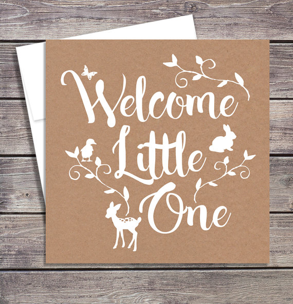 Welcome baby baby shower card new baby greeting card pinterest welcome a new baby with this sweet rustic greeting card perfect for a woodland theme baby shower m4hsunfo