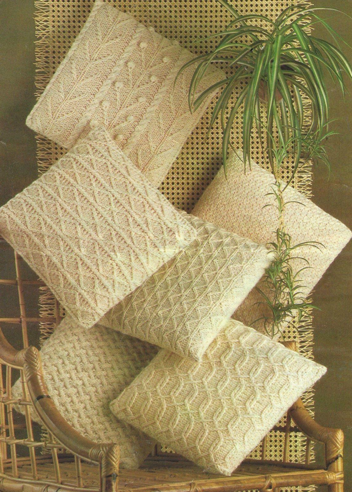 "Aran Cushion Knitting Patterns in 6 Designs 14"" Square 618 ..."