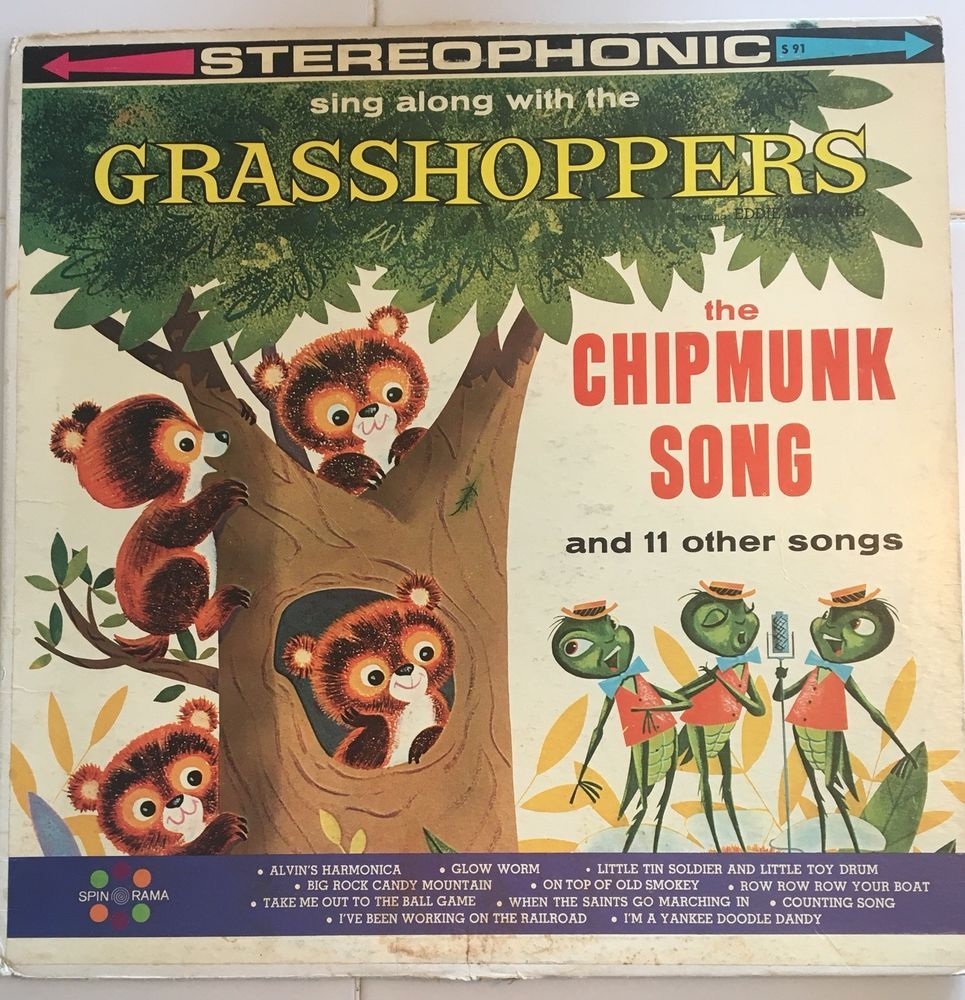 Stereophonic Vinyl Spin O Rama Sing A Long With The Grasshoppers S 91 Record Singalong Chipmunks Songs Singing Vinyl