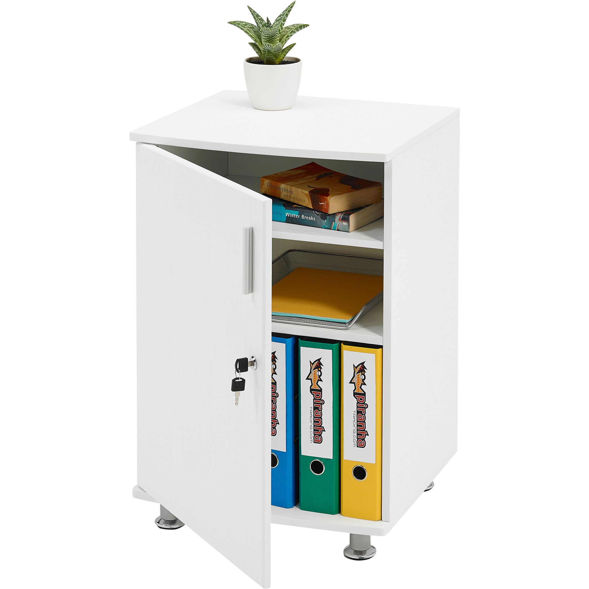 Desk Extension Cupboard Lockable Furniture with Shelves Piranha Matt ...