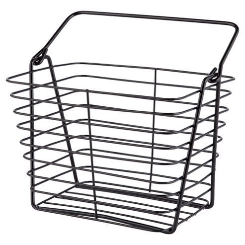 6310332dd422 ... Tesco direct. Heavy Duty Black Wire Storage Basket / Tidy with Carry Ha…