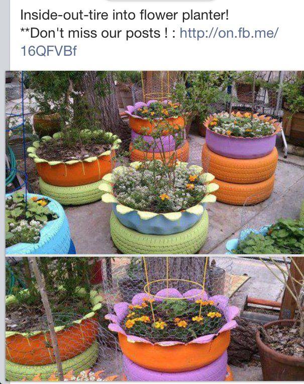 re-purposed tire planters loves projects Pinterest Llantas - jardines con llantas
