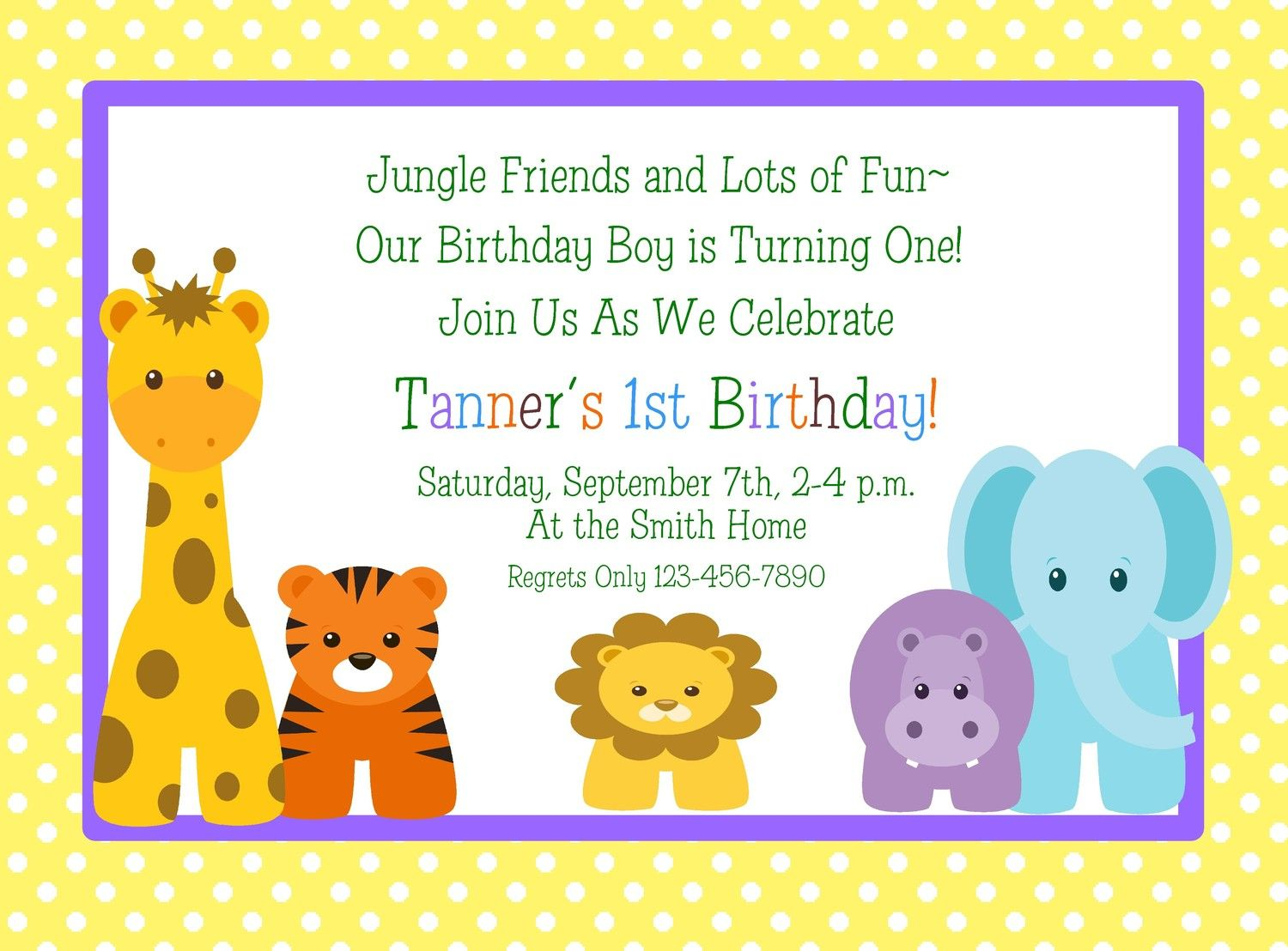 Jungle Animals 1st Birthday Invitations/Set by traditionsbydonna ...