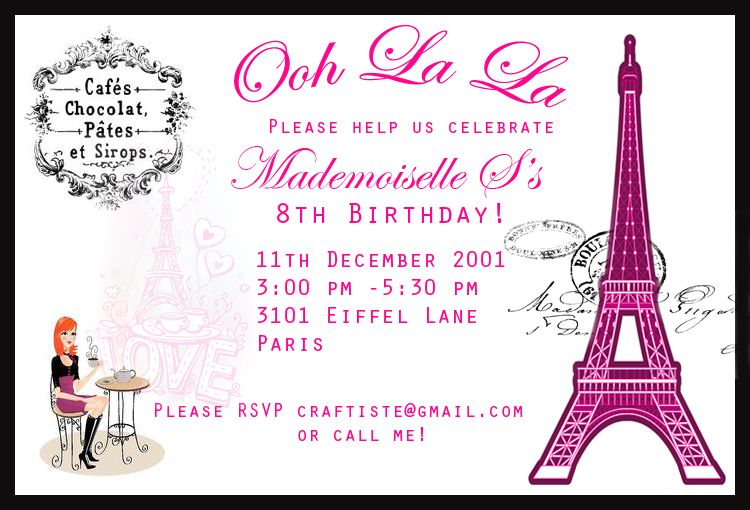 paris themed invitations template ISo5LWS7 | Mom\'s 50th Birthday ...