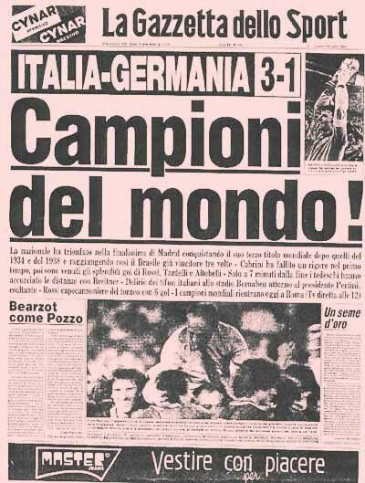 Prima pagina Gazzetta dello Sport   Campioni del Mondo