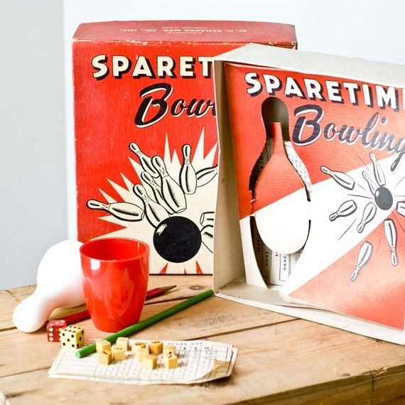 Vintage 1960s Sparetime Bowling Dice Game By Labrocanterie On Etsy 16 00 Bowling Board Games Dice Games