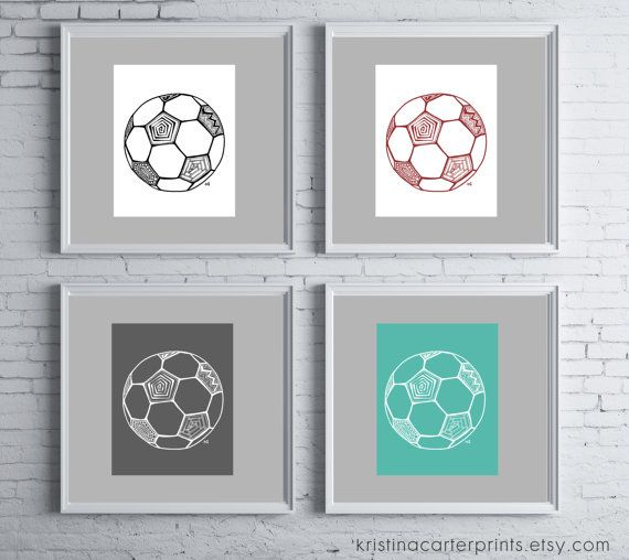 Marvelous Soccer Ball Wall Art, Girls Boys Room Decor, Sports Themed Nursery, Digital  Ink