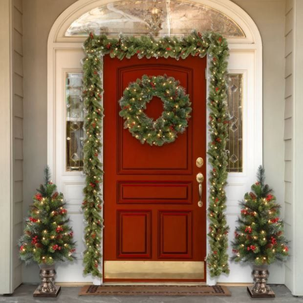 9 Spruce Pre Lit Garland With Warm White Lights Indoor Christmas Christmas Porch Pre Lit Garland