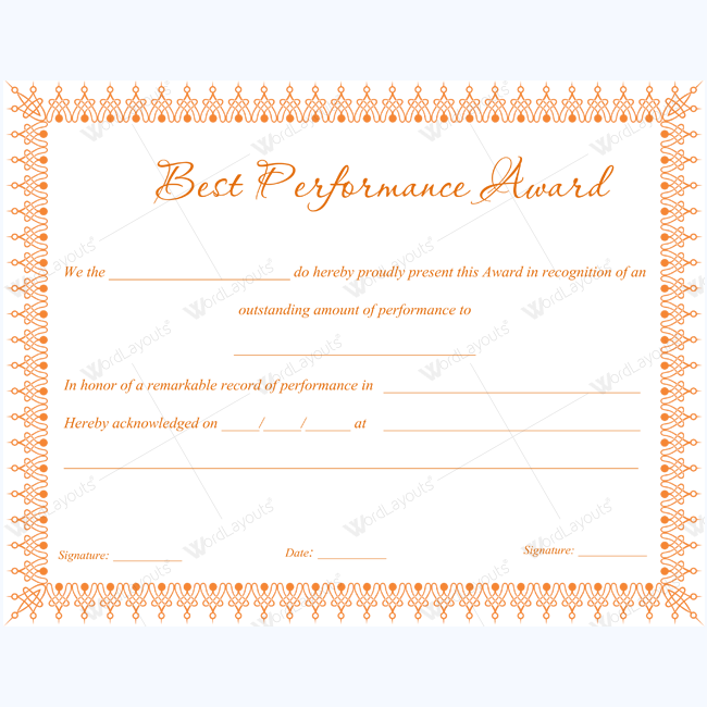 Best Performance Award Bestperformancecertificate