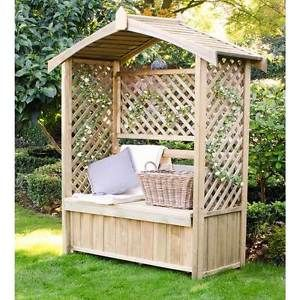 Lyon Garden Arbour With Storage Box Seat Lattice Sides Solid Roof