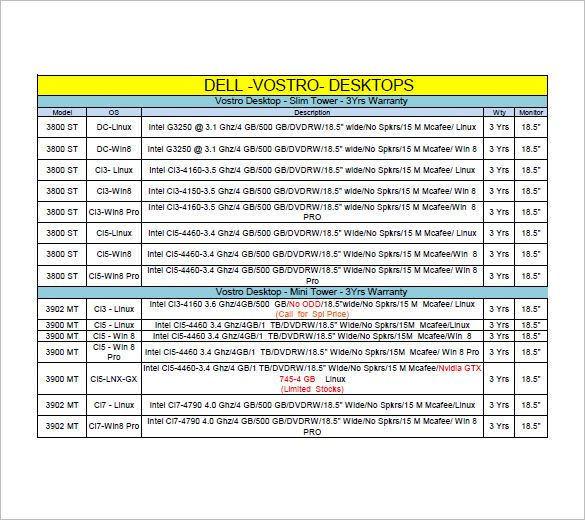 desktop computer price list , Lists to Add to Get an Attractive - price list format