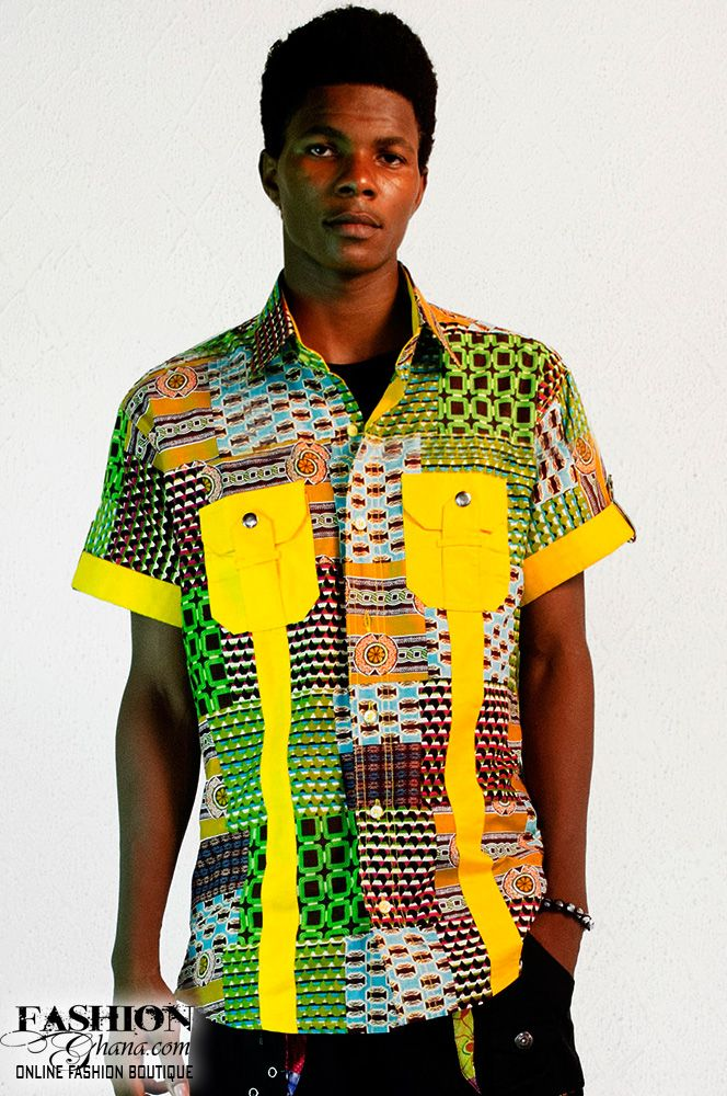 African Men's fashion & style Horizon Asasa Print Shirt ... Ankara Print Men