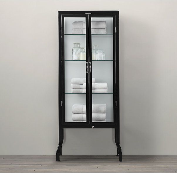 Pharmacy Bath Tall Cabinet Black, Black Bathroom Storage Cabinet