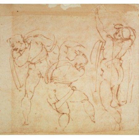 Figure Sketches Michelangelo Buonarroti (1475-1564 Italian) Galleria Degli Uffizi Florence Italy Canvas Art - Michelangelo Buonarroti (24 x 36)