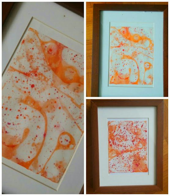 Marbleized art print ( science experiment )
