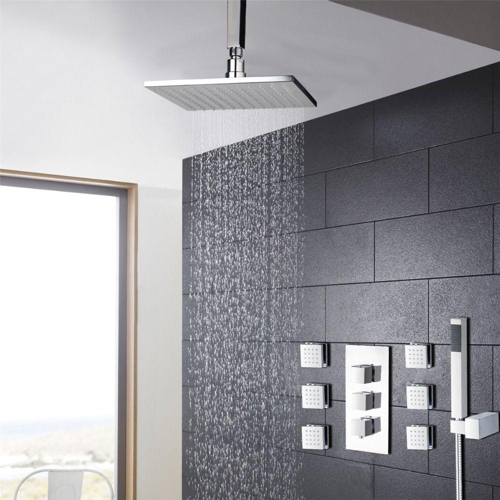 LED Bathroom Thermostatic Mixer 12\'\' Shower Head Handheld Massage ...