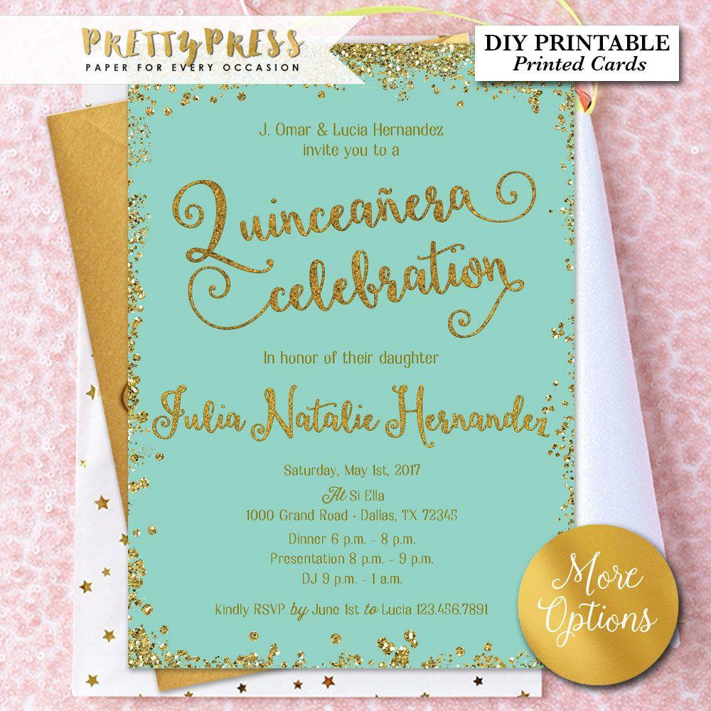 Quinceañera Invitation, Quinceanera Invites, Gold Glitter, Quinceañera  Celebration, Gold Glitter, Teal, F… | Invitations, Quinceanera invitations,  Quinceanera party