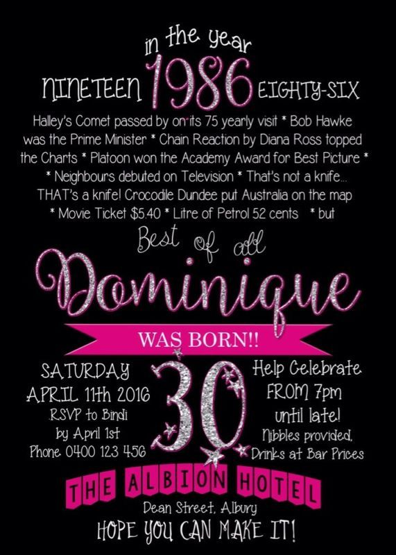 Printable Custom Personalised 30th Birthday Invitation Glitter Pink Fun Facts