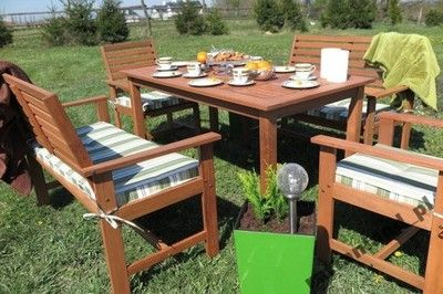 Meble Ogrodowe Drewniane Stol Lawki Fotele Poduchy Outdoor Furniture Sets Outdoor Furniture Outdoor Decor