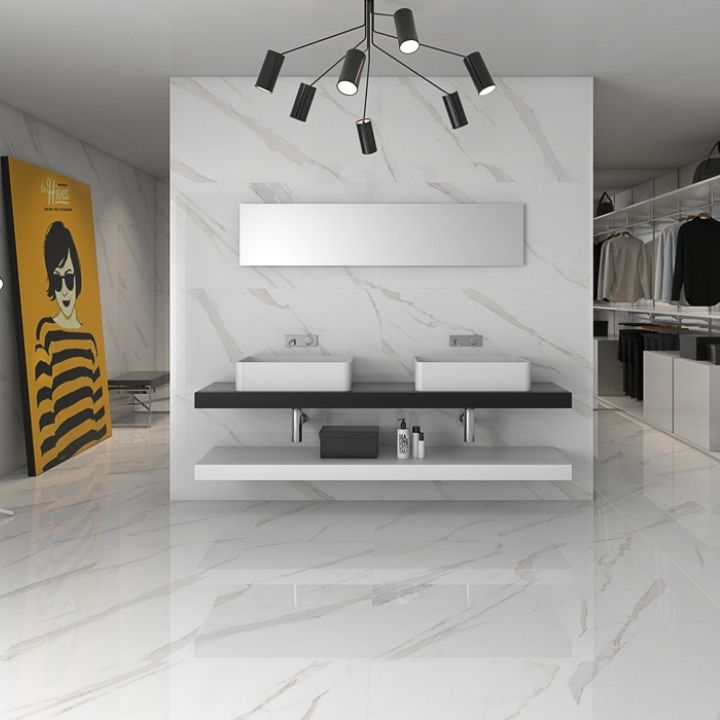 Statuary High Gloss White Floor Tiles Come In Two Sizes Including This Extra Large 75 Cms X Tile Contemporary Has A Marble Effect
