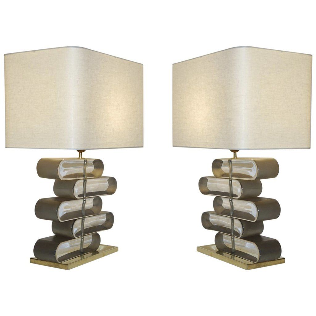Italian Modern Pair Of Brass And Bronze Murano Glass Architectural Table Lamps Modern Murano Lamp Brass Table Lamps