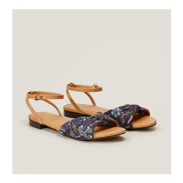 258ce2e85b23 LOFT Floral Knotted Ankle Strap Sandals (47 CHF) ❤ liked on Polyvore  featuring shoes