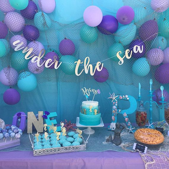 Under the sea party mermaid party sea party banner for Bday decoration