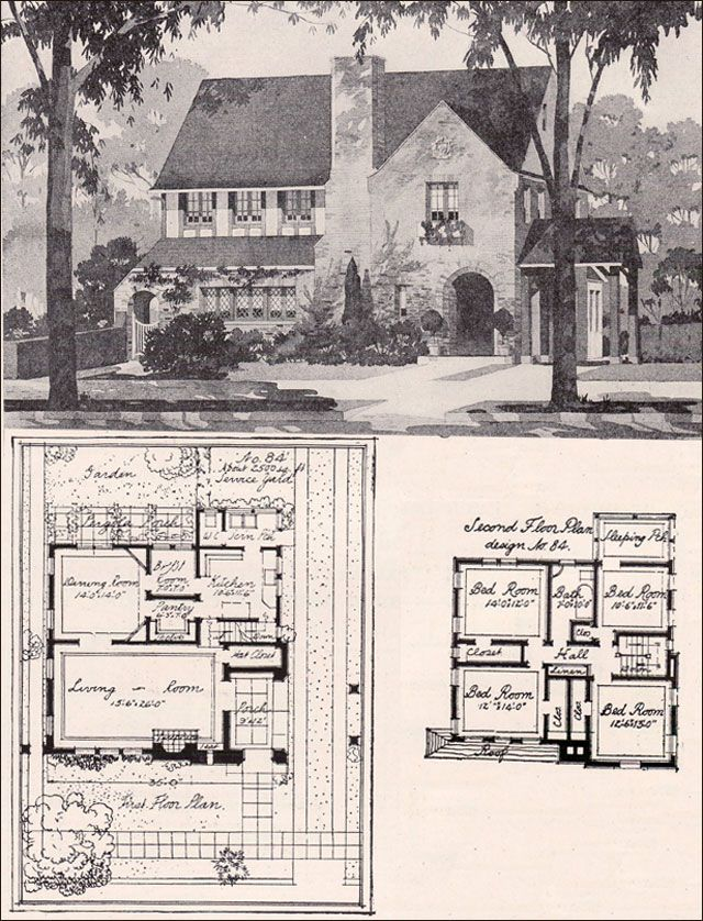 1916 english style two story american residential for American residential architecture