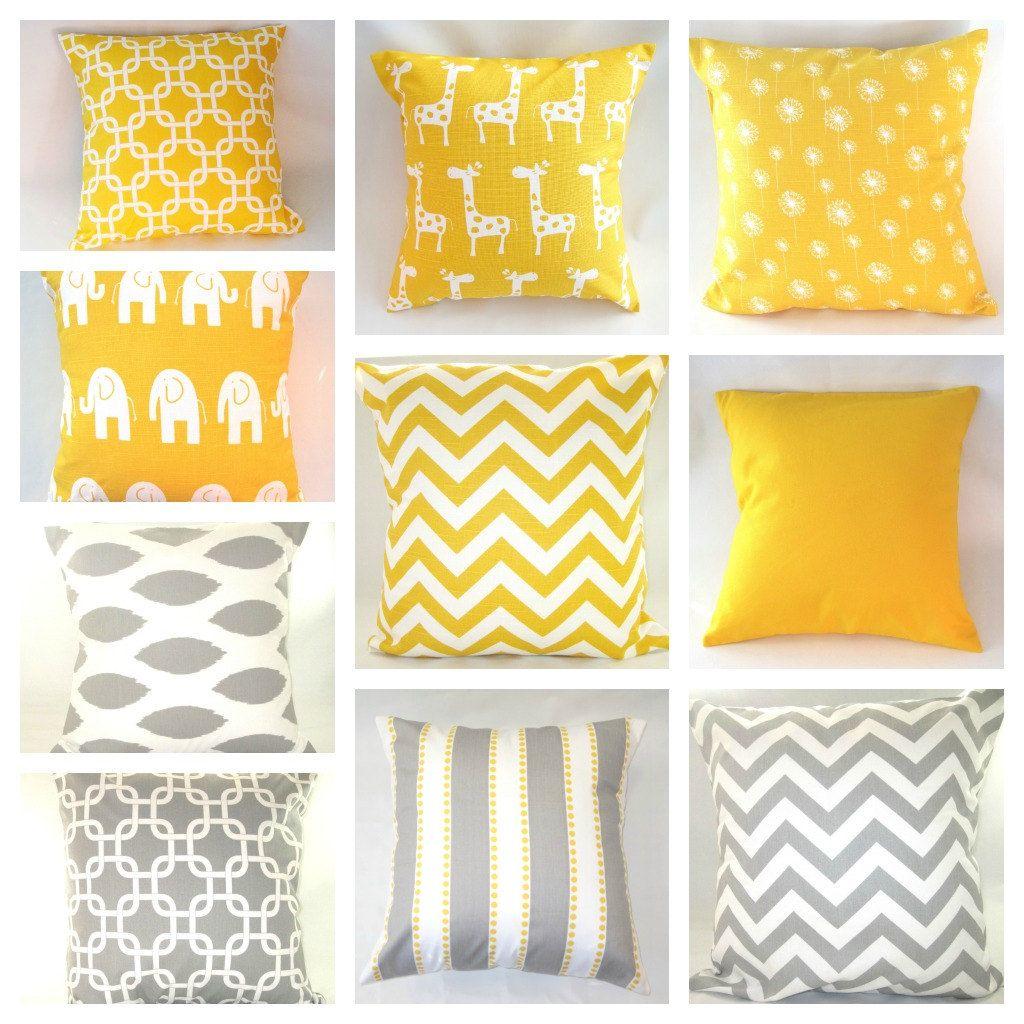 Yellow Gray Chevron Pillow Cover MANY