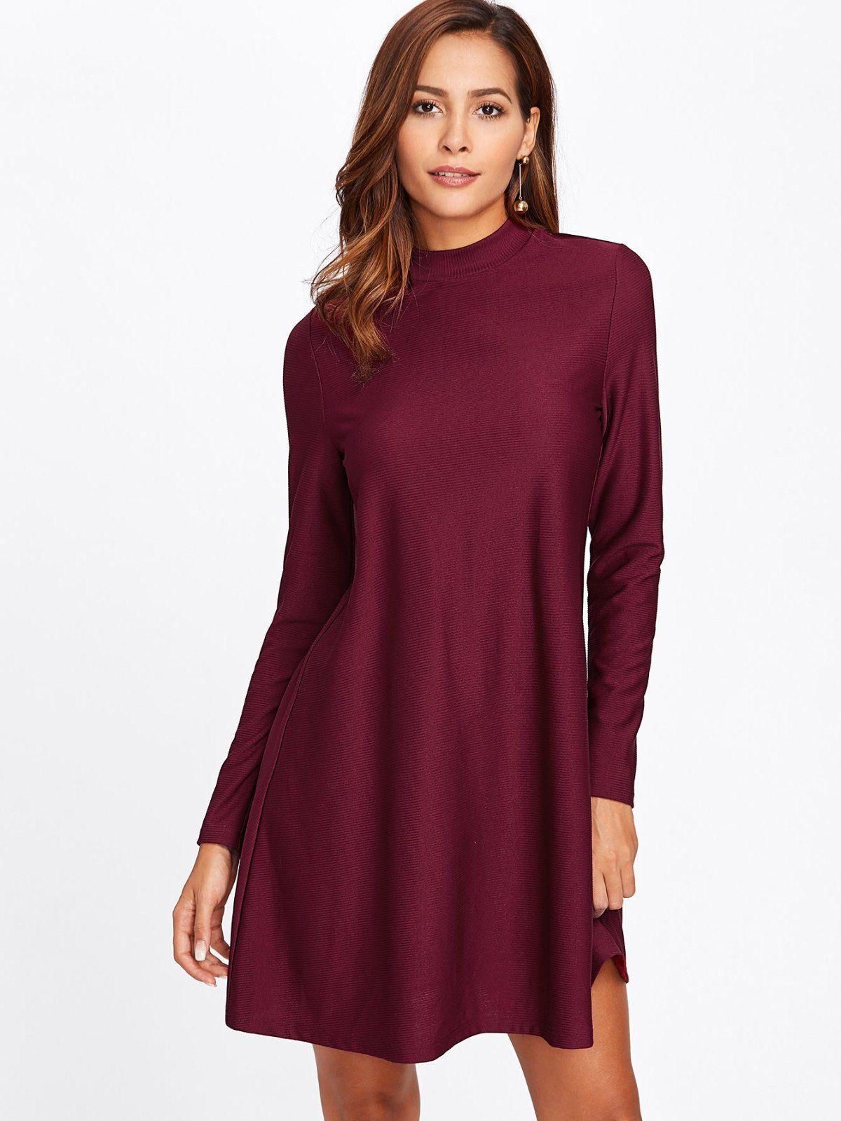 Zipper back ribbed swing dress swings casual wear and sleeved dress