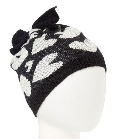 9f1b2569204ec This Black Artsy Hearts Bow Beanie Hat is perfect!  zulilyfinds ...