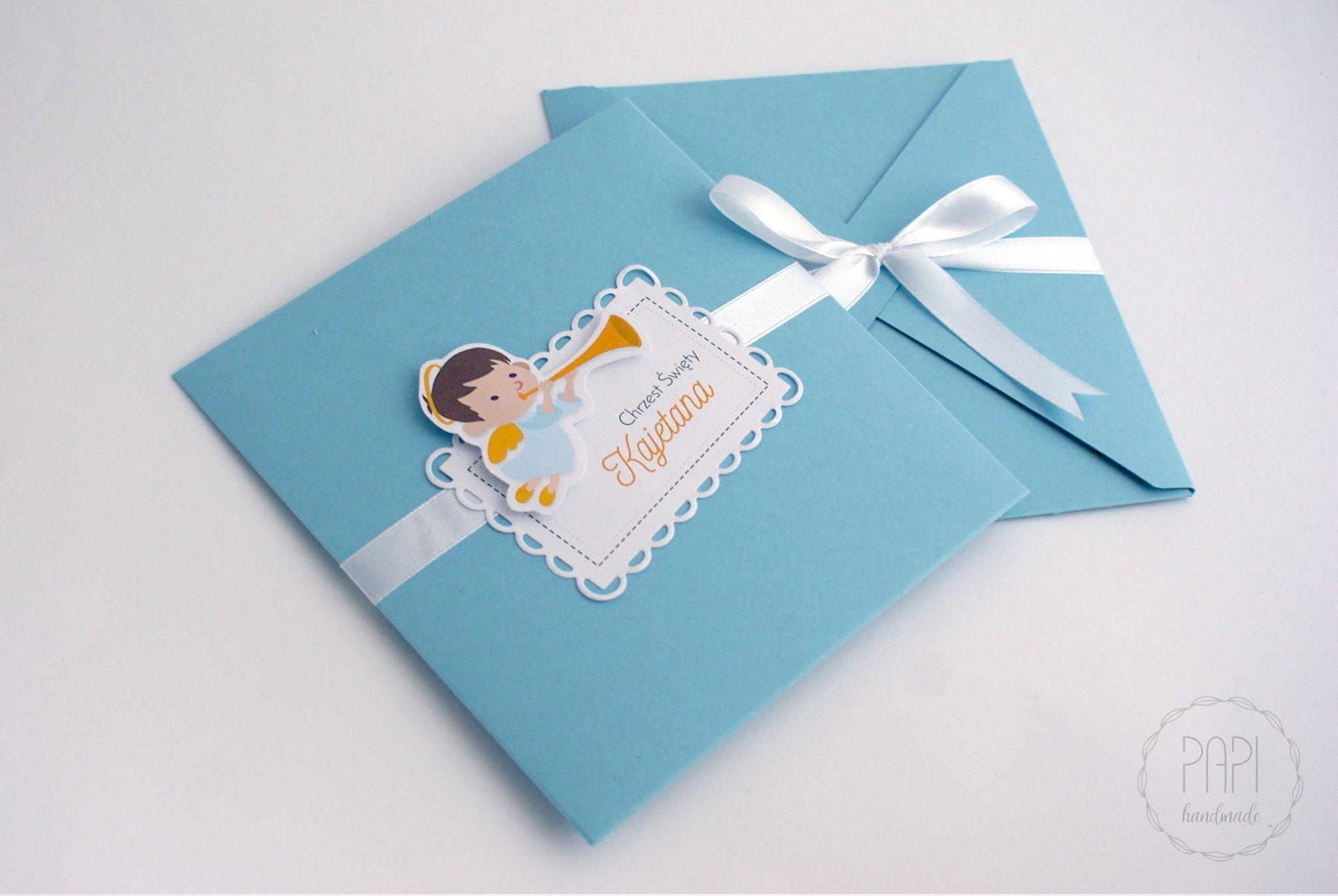 Zaproszenia Na Chrzest Z Aniołkiem Papi Handmade Paper Quilling
