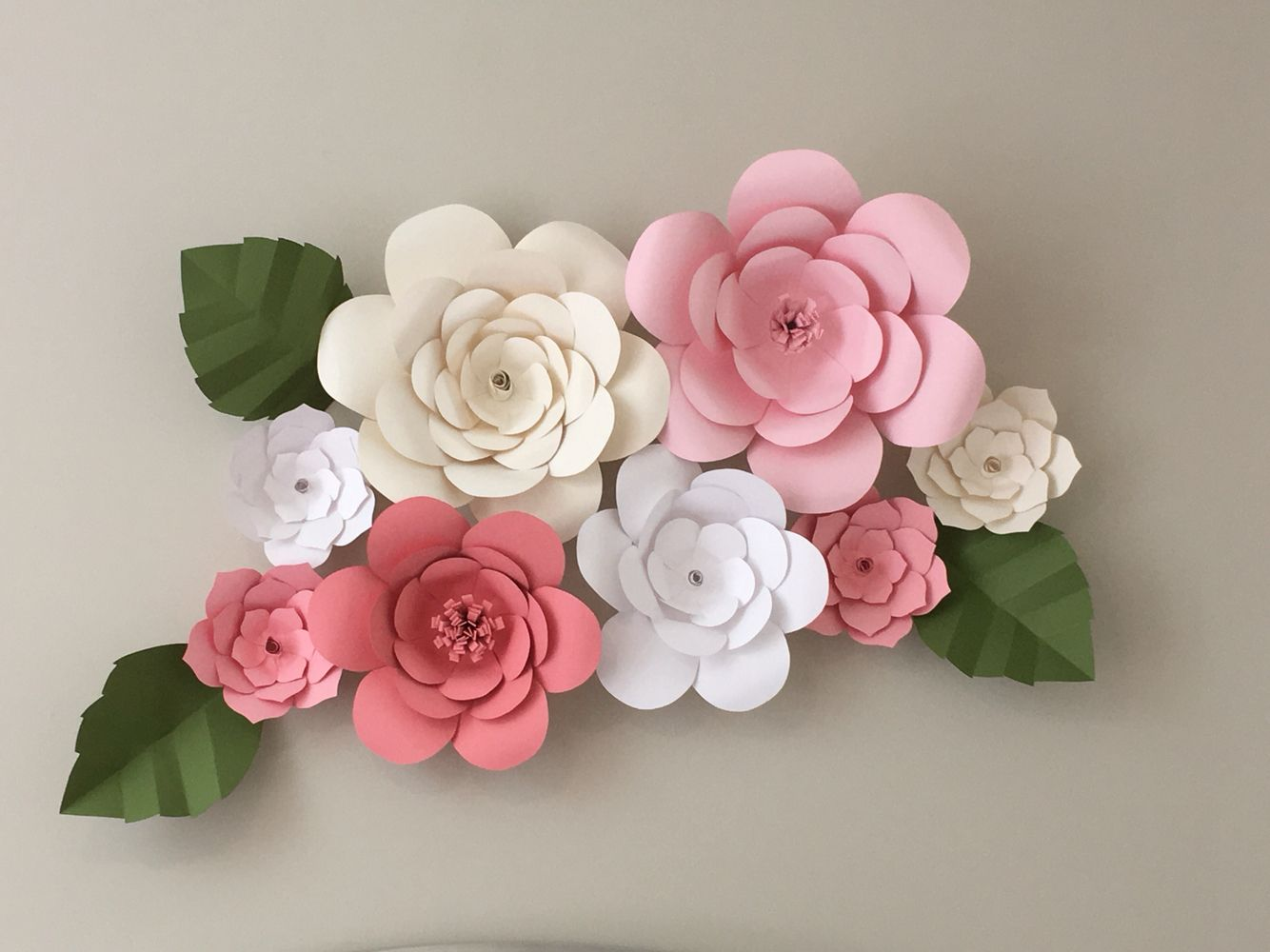 Handmade Paper Flowers For Pink And White Nursery Wall Art