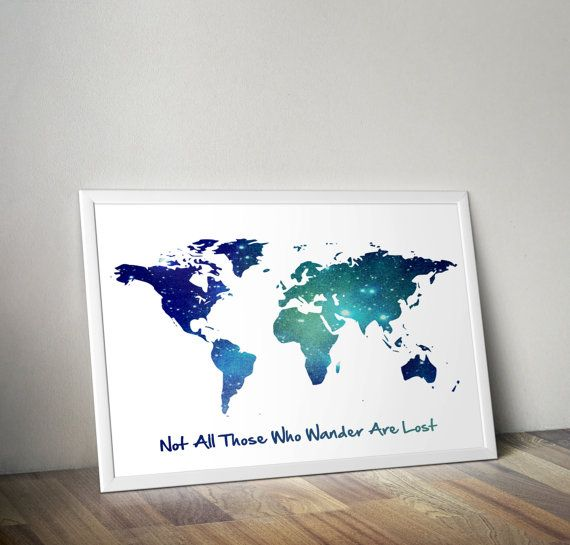 Not all those who wander are lost art print world map galaxy art not all those who wander are lost art print world map galaxy art print inspirational quote dorm bedroom wall art poster nursery decor pinterest gumiabroncs Image collections