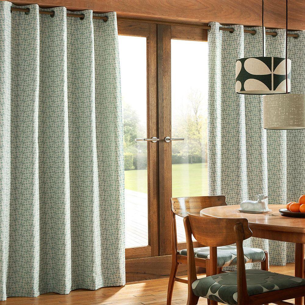 Photo of Buy Orla Kiely Woven Acorn Cup Eyelet Curtains – Powder Blue – 168x229cm | Amara