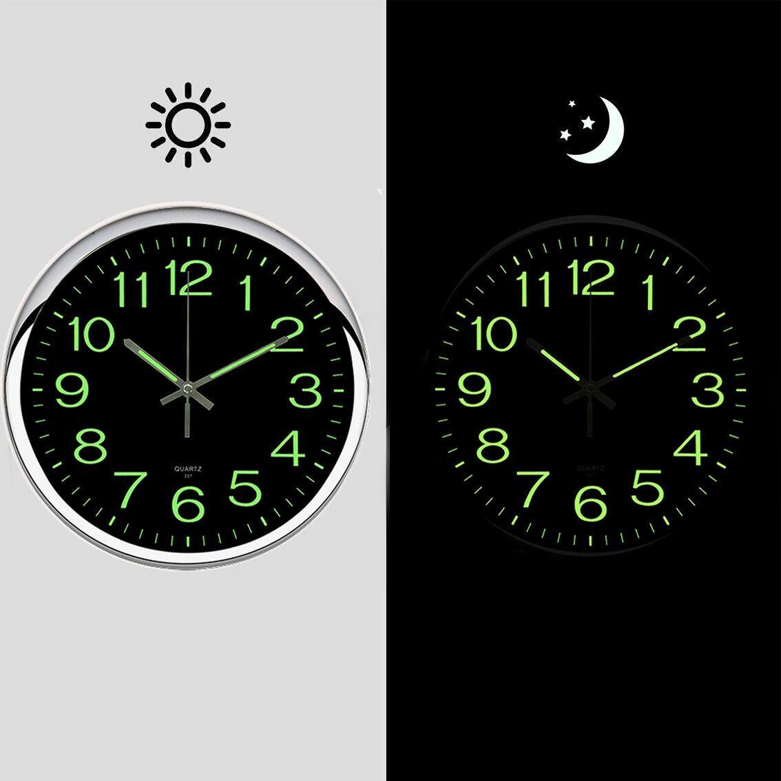 12'' Large Quartz Wall Clock Non Ticking Luminous Number ... on Decorative Wall Sconces Non Lighting id=15368
