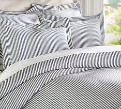 Thatcher Ticking Stripe Duvet Cover Shams Blue Bedding Striped Bedding Ticking Stripe