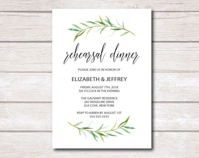 Wedding Rehearsal Dinner Invitation Card Template Printable Greenery Rehearsal Din Wedding Saving Wedding Rehearsal Dinner Invitations Save The Date Templates