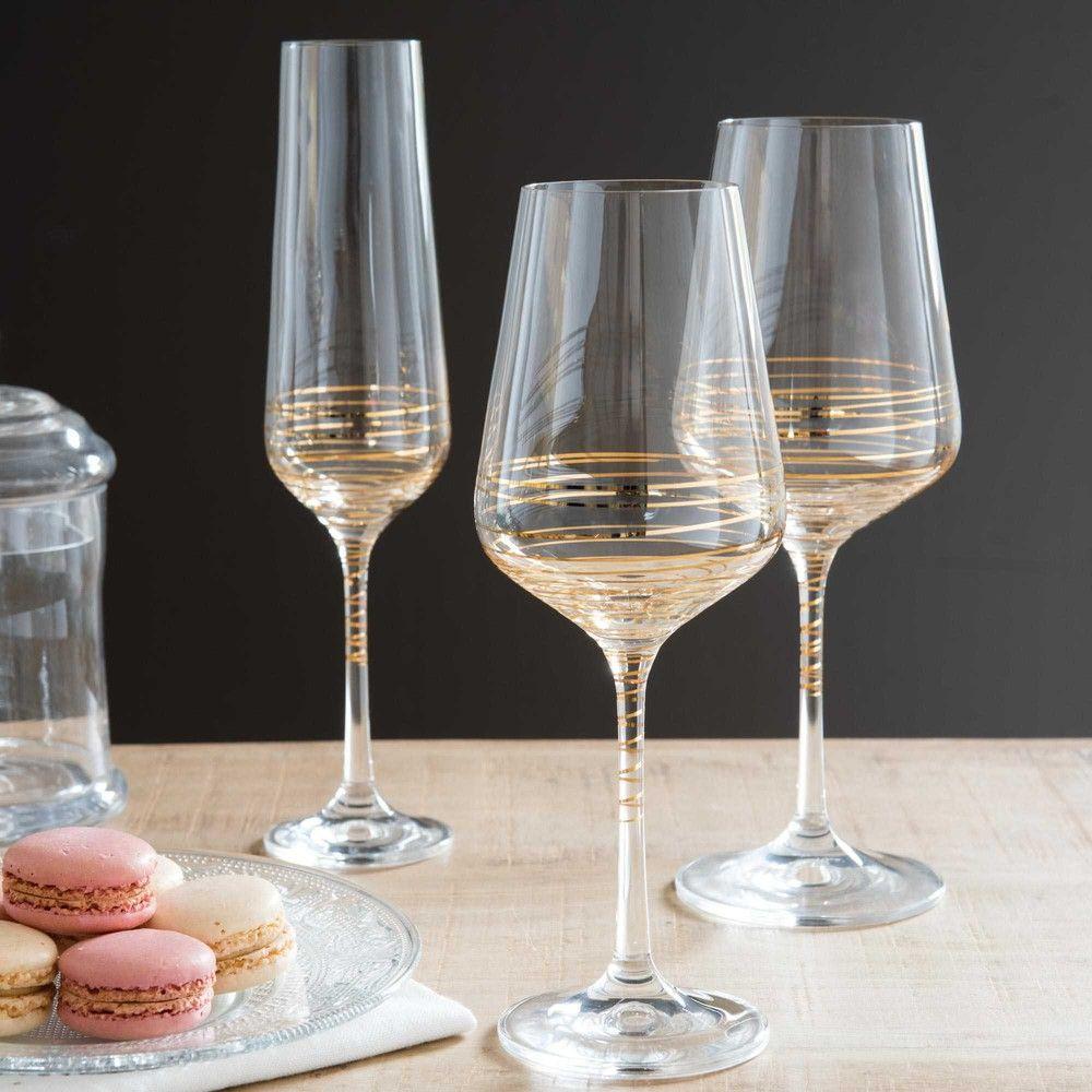 SPIRALE gold coloured glass champagne flute   Maisons du Monde