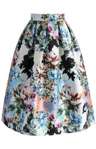Floral Explosion Printed Midi Skirt - CHICWISH SKIRT COLLECTION - Skirt - Bottoms - Retro, Indie and Unique Fashion
